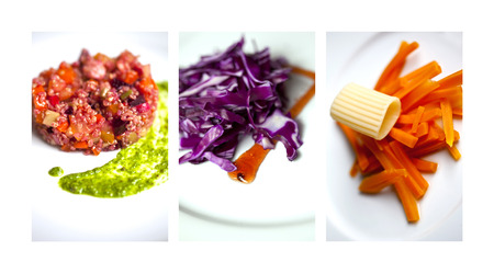 gastronomic: Raw vegetables and salds on a collage