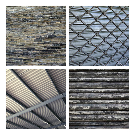iron curtains: Textures and backgrounds of materials on a collage Stock Photo
