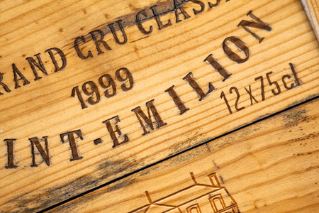 bordeaux: Close up of a wooden wine box