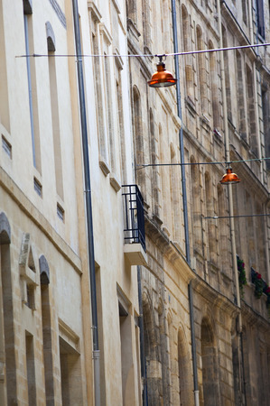 patrimony: Stoned houses of old streets in Bordeaux, France