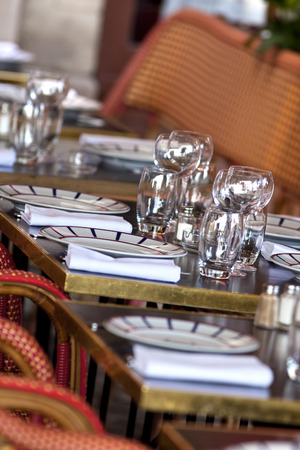 bistro: Table set of a vintage French bistro in Bordeaux, France