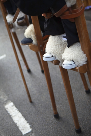 stilts: Shepherds on stilts in a village festival