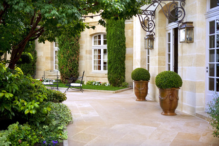 Terrace of a French mansion near Bordeaux