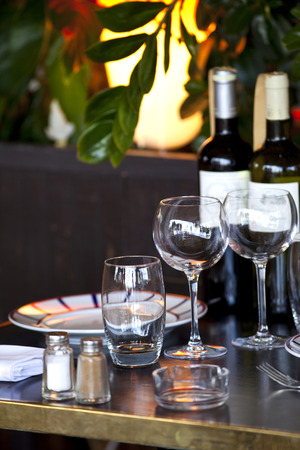 bistro: Table set in an old French bistro