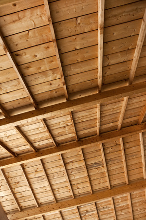 roof framework: Wood framework in the courtyard of a school