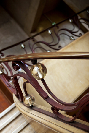 handrail: Art Deco style for a wrought iron handrail Stock Photo