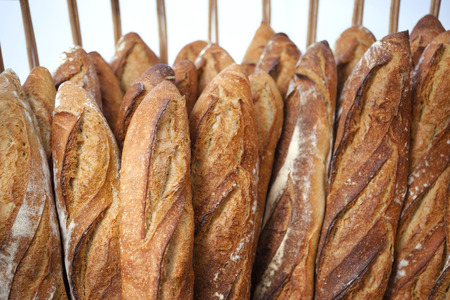 crust crusty: Many crisp bread in a French bakery