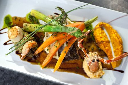 crustacean: Dish with fish, crustacean, vegetable and sauce