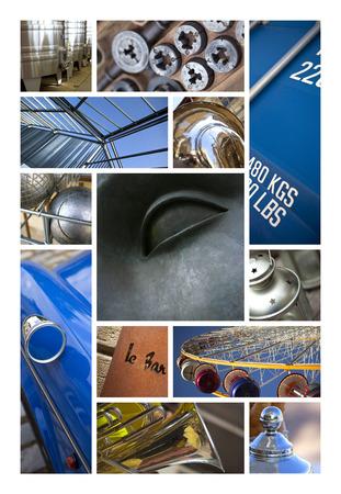 materiales de construccion: Diversos objetos y estructuras metálicas en un collage