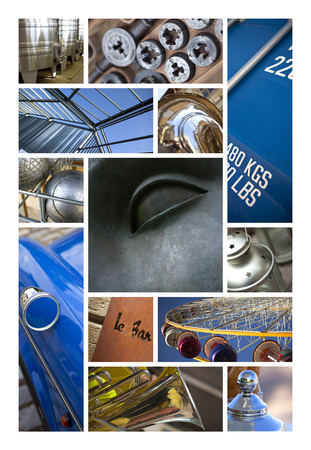 construction materials: Various metallic objects and structures on a collage Stock Photo