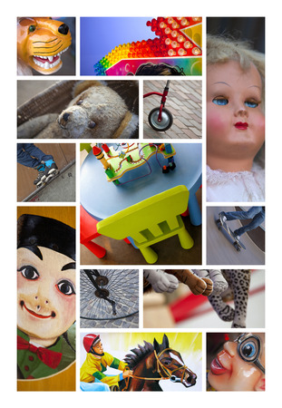 puppets: Various toys and puppets on a collage