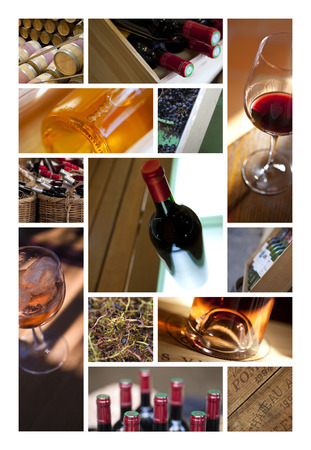 wineries: Wine and wineries objects on a collage