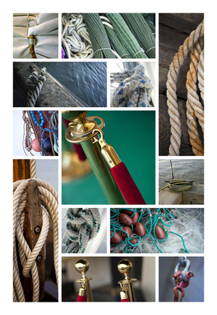 cordage: Various ropes and ties on a collage Stock Photo