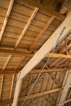 roof framework: Wooden framework in the courtyard of a school