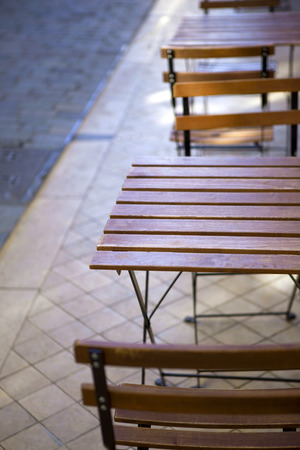 bistro: Table and chair on the terrace of a French bistro Stock Photo
