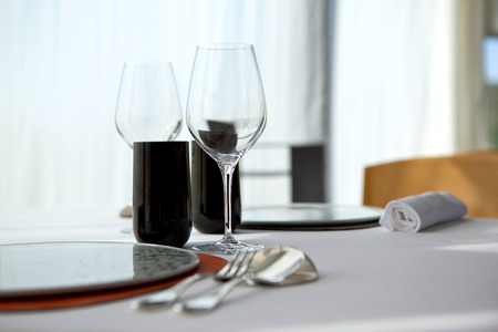 table set: Table set in a luxury French restaurant