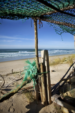 wooden hut: Old wooden hut on a beach in South-West of France