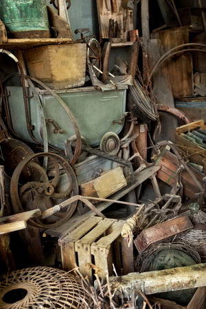 weathered: Weathered objects in a French flea market Stock Photo