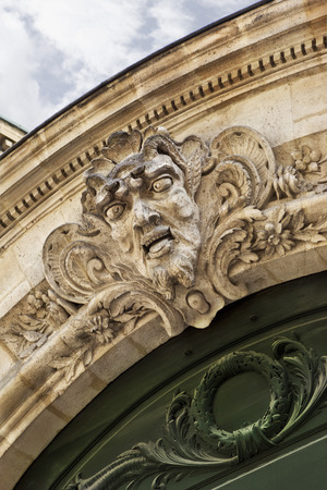 stoned: Stoned facade and sculpture of a French mansion in Bordeaux Stock Photo