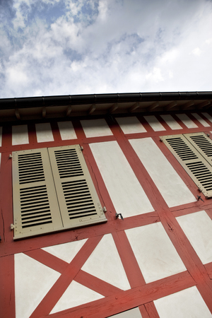 timbered: Facade of an old timbered house in Normandy, France