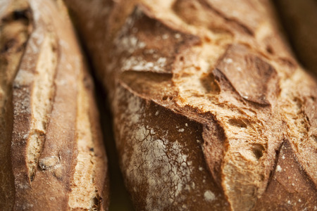 Close up of French crusty bread inside a bakery Stock Photo