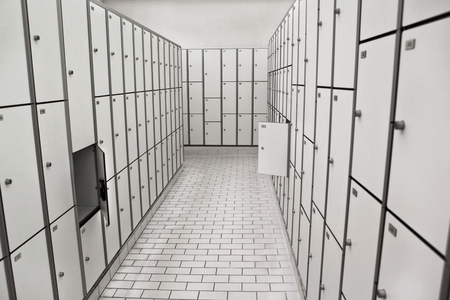 changing room: Wardrobes and lockers in the changing room of a swimming pool Stock Photo