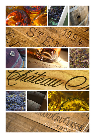 Collage of label, object and bottles of French wineries
