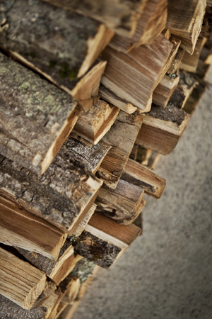 hotness: Pile of wood logs in a shed in the countryside