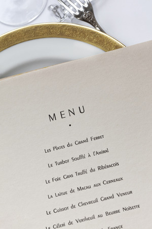 Details of a classic French menu in a luxury restaurant