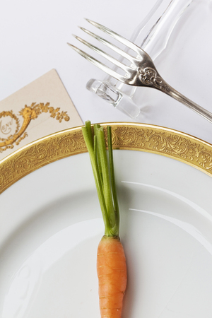 Carrot on a plate in a luxurious restaurant