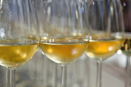 Witte wijn in glazen voor een proeverij