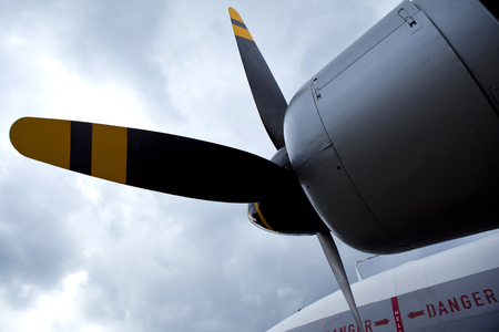 Propeller of a vintage aircraft in an air show