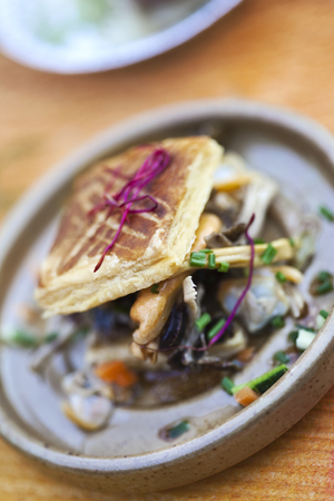 Mussels and shellfish dishes with puff pastry