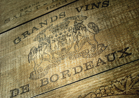 Sign of a wine wooden box in a French cellar near Bordeauw