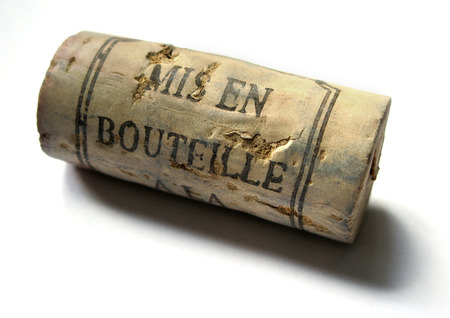 Bottling process sign on a corck of Bordeaux wine Stock Photo