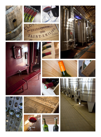 dryer: Cellars and wineries on a wine collage