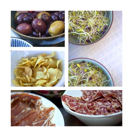 Collage van verschillende hapjes op een buffet