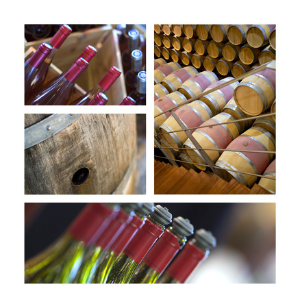 Collage of bottles and barrels in a winery Stock Photo