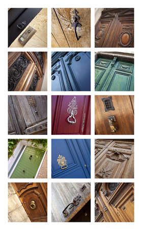 Old wooden doors on a collage