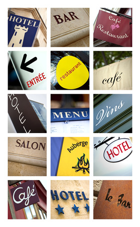 Restaurant and hotel signs on a collage