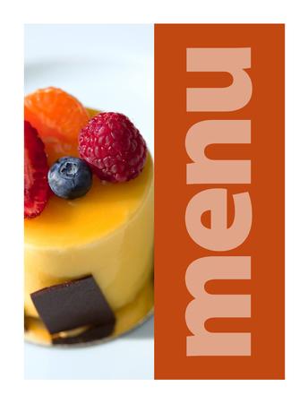 Fruit mousse on a model for a restaurant menu