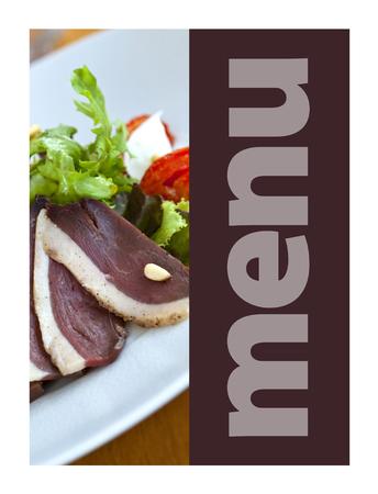 Duck ham on a model for a restaurant menu