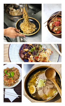 Collage of various asian dishes in restaurants Stock Photo