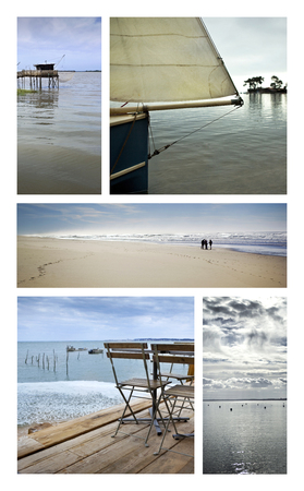 Collage of various beaches and oceans in Summer