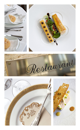 Collage of table sets and meals in a luxury restaurant