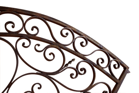 Rustic and weathered wrought iron gate on a white background