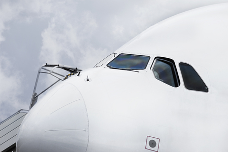 Close up of a cockpit on an airport