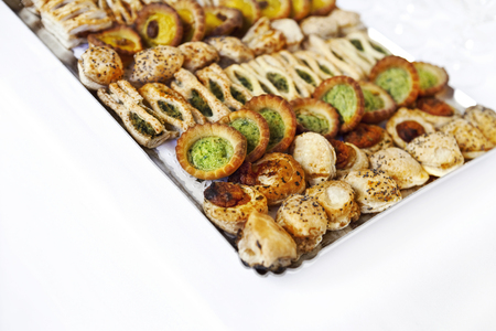 Close up of canapes and toasts on a tray Stockfoto