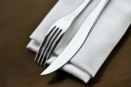 Close up of a stylish cutlery on a table