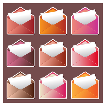Colorful envelope and white paper for a mail